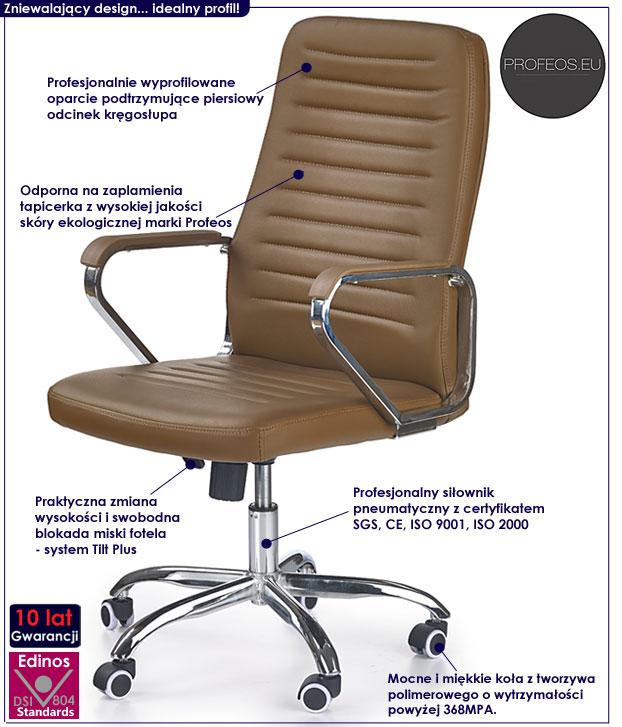 fotel do biurka brązowy obrotowy Tomix