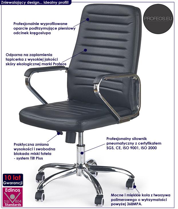 biurowy fotel na kółkach czarny Tomix obrotowy