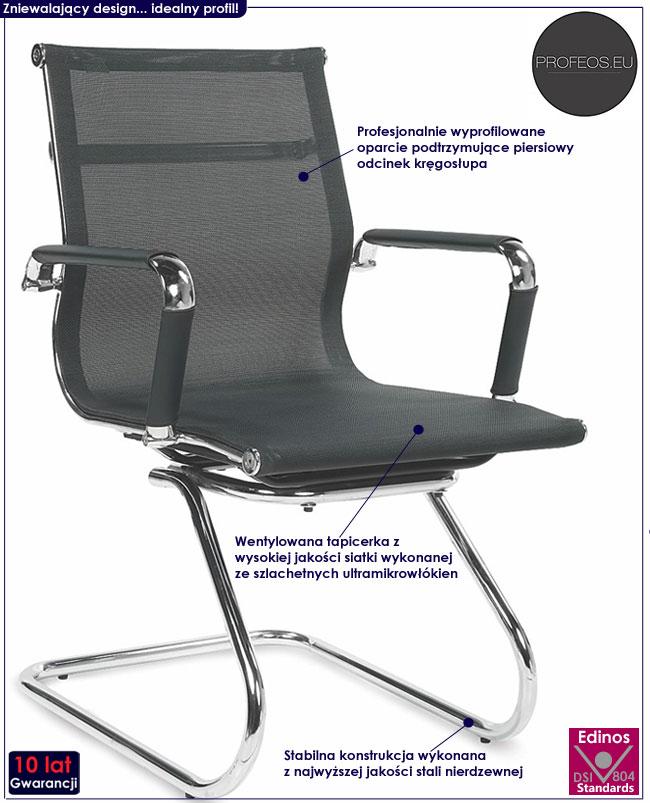 czarny fotel konferencyjny do biura biurka Toran