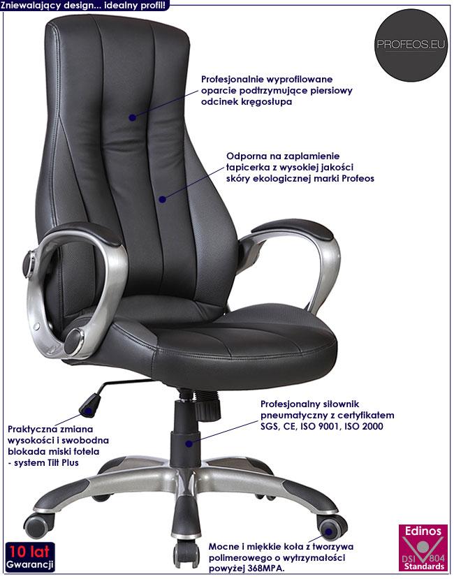 czarny fotel obrotowy gabinetowy Verbis do biurka