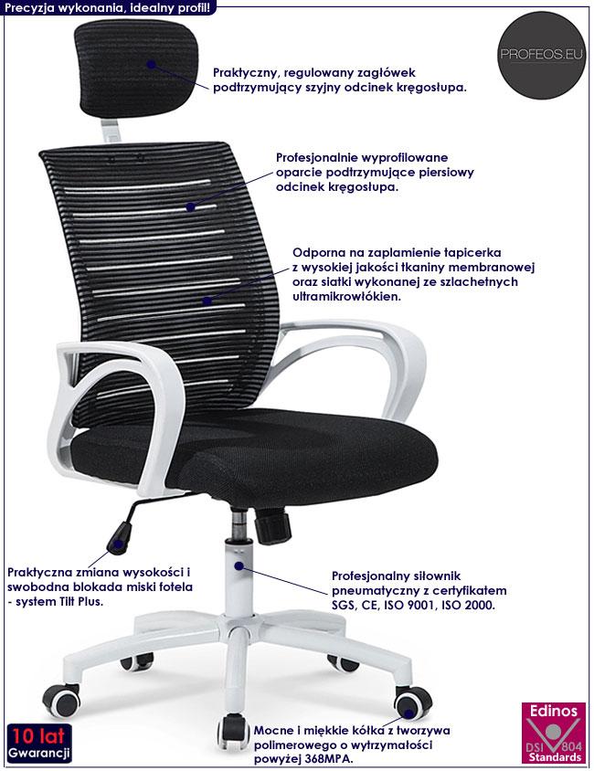 Wentylowany fotel obrotowy z zagłówkiem Virago