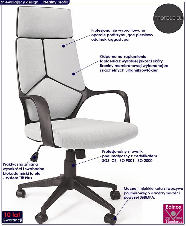 skandynawski fotel obrotowy biały jasny popiel Viver biurowy