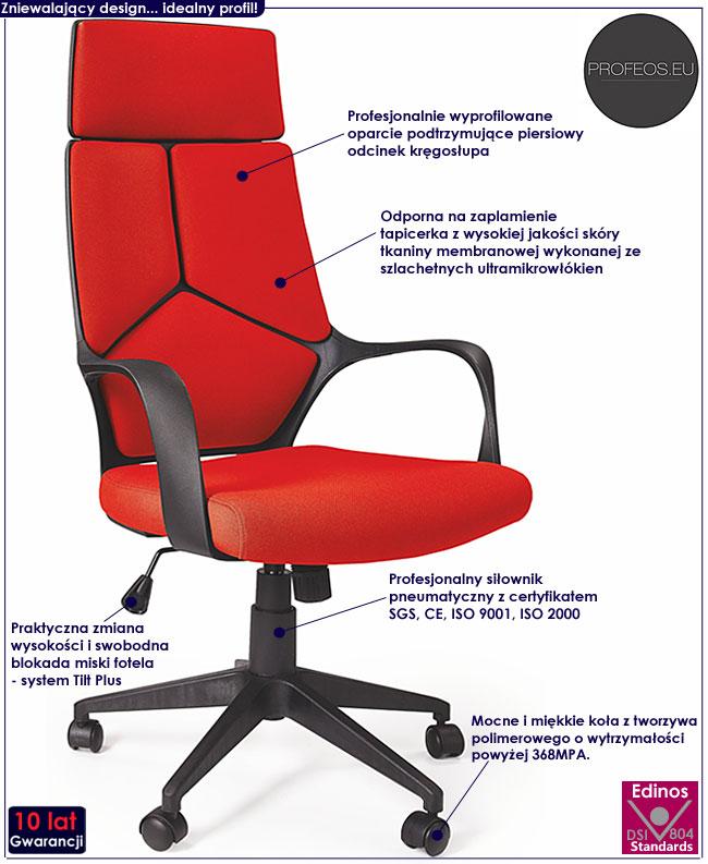 nowoczesny fotel obrotowy biurowy do gabinetu czerwony Viver