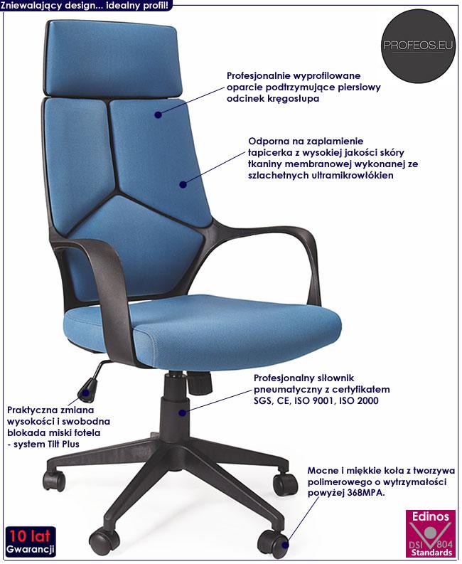 niebieski fotel do pracowni biurka komputera gabinetu Viver krzesło