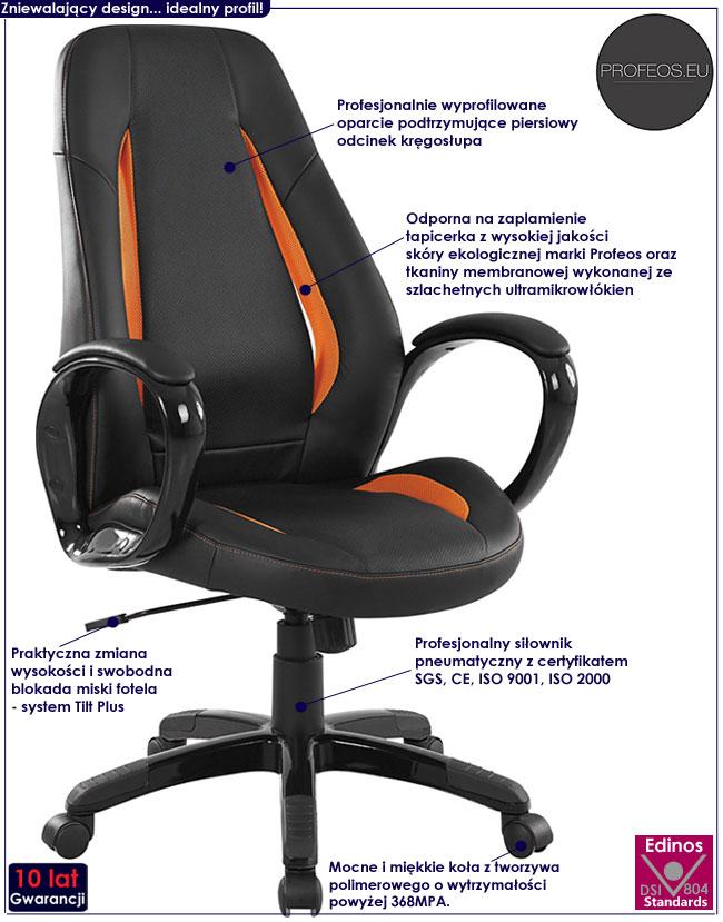 czarny fotel obrotowy do gabinetu biura pracowni Vivus
