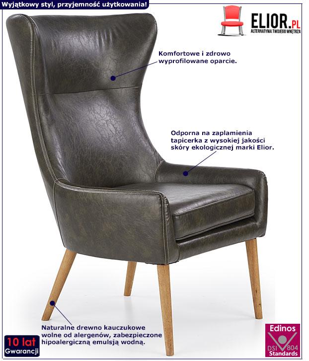 Ciemnobrązowy fotel wypoczynkowy Vixen