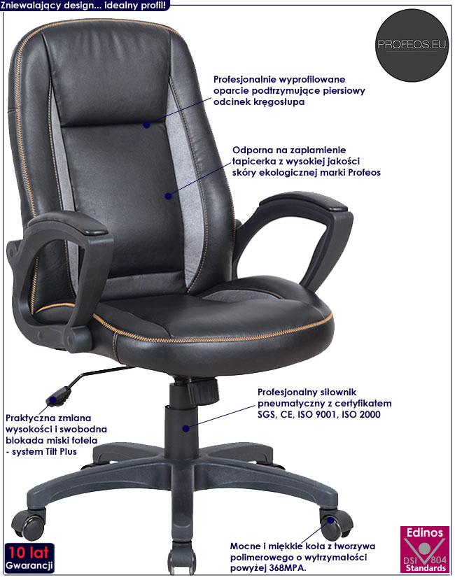 Czarny fotel obrotowy gabinetowy do biurka Walder