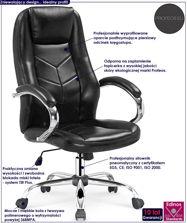 Czarny fotel obrotowy tapicerowany Waldon