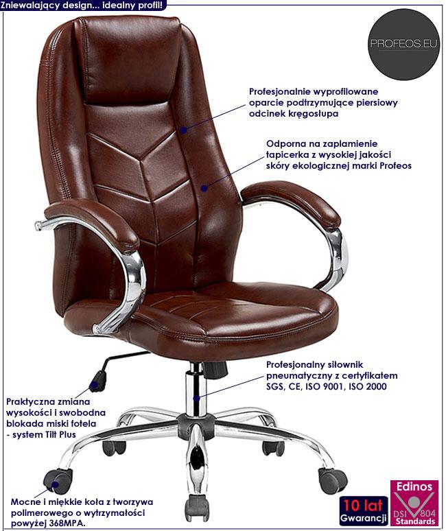 biurowy fotel obrotowy Waldon brązowy do komputera