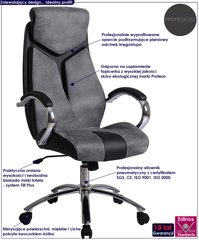 popielaty fotel obrotowy do biura komputera szary Xavier