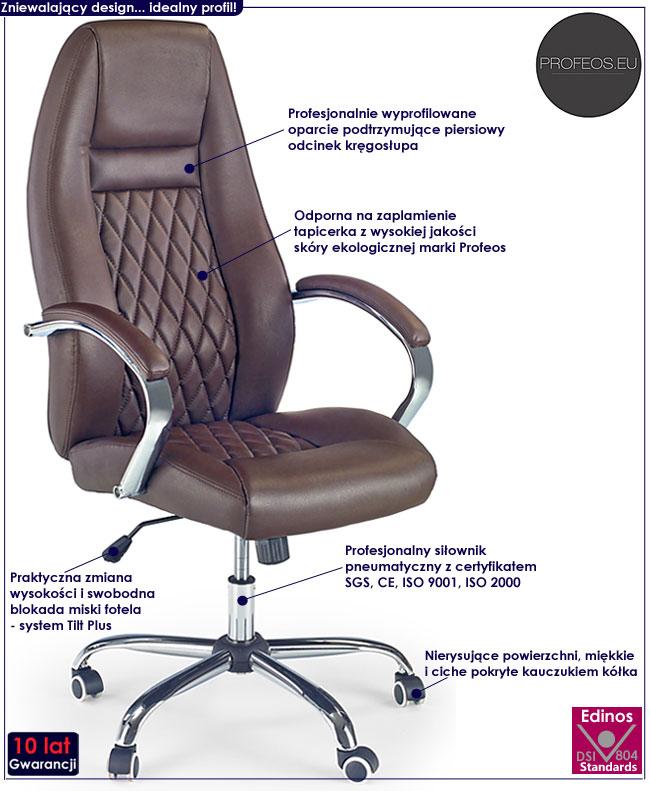brązowy fotel obrotowy do gabinetu biurowy do biurka Xeron