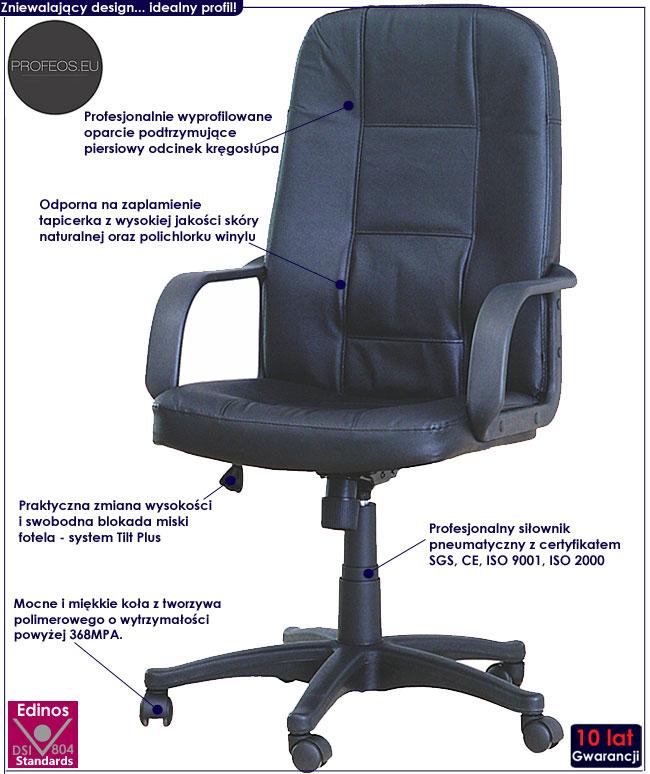 skórzany fotel obrotowy do biurka komputera Zabir czarny