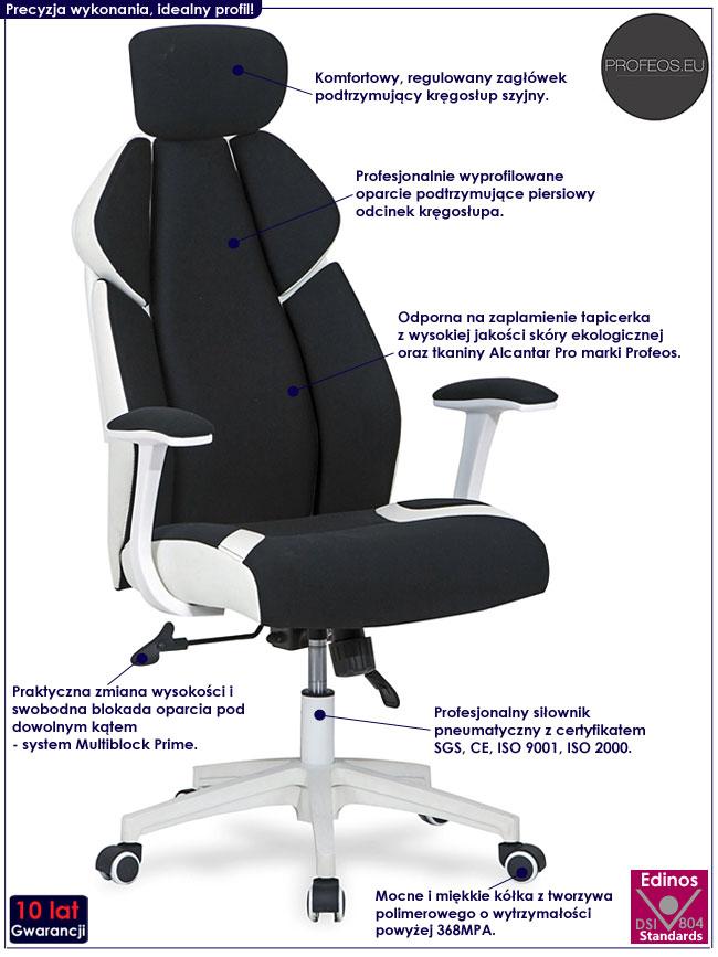 Nowoczesny tapicerowany fotel obrotowy czarny Zenter