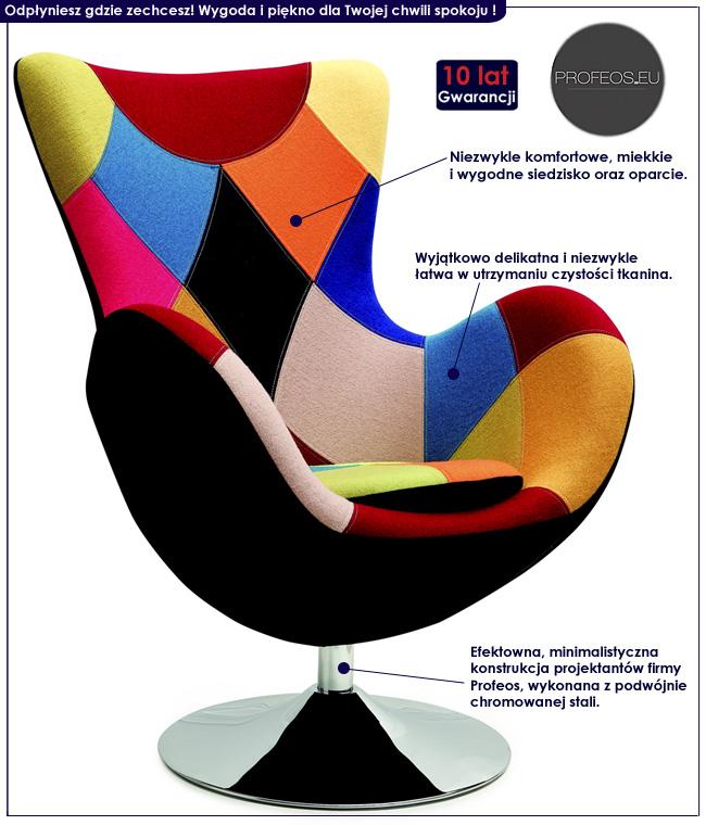 wielokolorowy nowoczesny fotel Zoltis