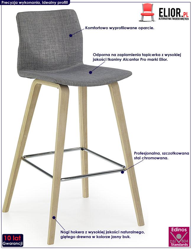Drewniany szary hoker kuchenny w minimalistycznym stylu Irvin