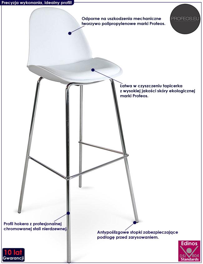 Metalowy biały hoker kuchenny w minimalistycznym stylu Liner