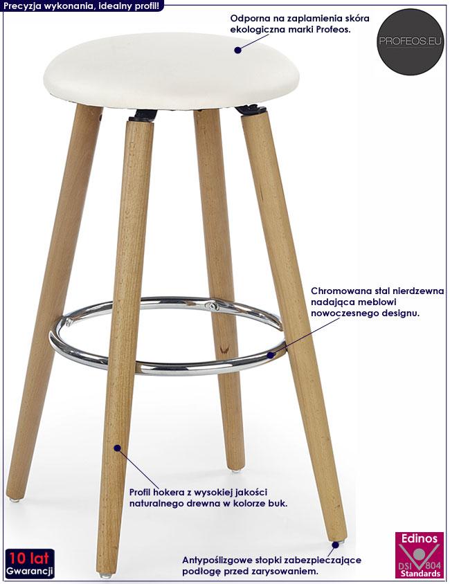 Drewniany kremowy hoker, okrągły taboret Milax