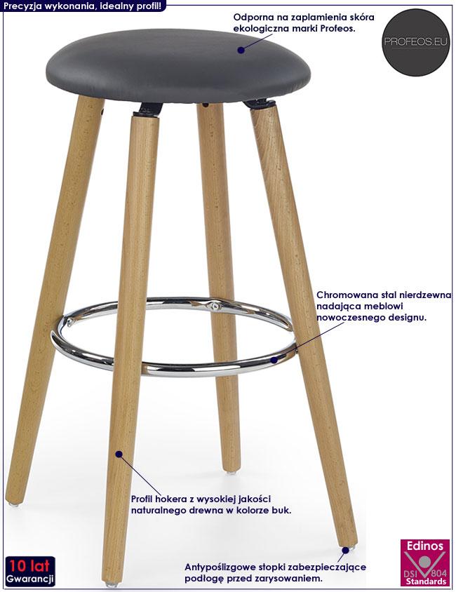 Popielaty hoker okrągły z drewna Milax