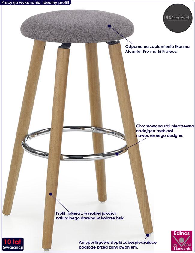 Szary okrągły hoker, stołek kuchenny Milax