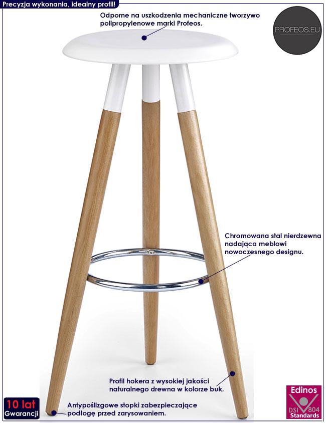 Skandynawski biały hoker kuchenny drewniany Terson