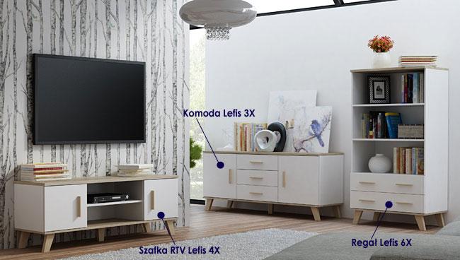 Kolekcja mebli do salonu, sypialni biała dąb sonoma Lefis