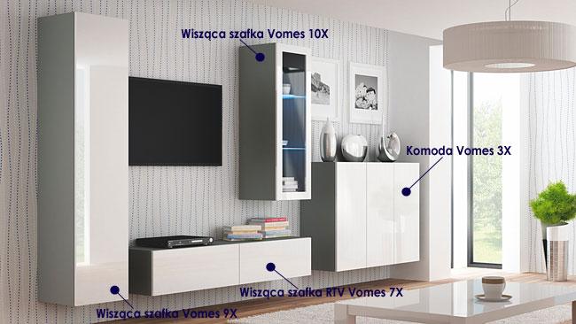 Zestaw mebli RTV biało-popielate Vomes