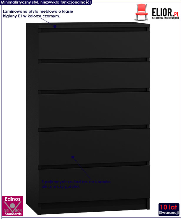 Czarna komoda z szufladami Dalia