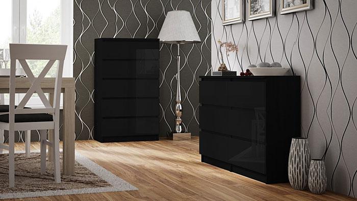 Lakierowana czarna komoda z 5 szufladami Dalia 2X