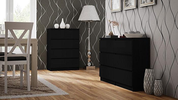 Czarna komoda do salonu, biura, sypialni Letia