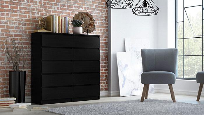 Czarna szafka z szufladami Rossa 2X 140 cm