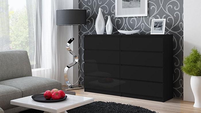Czarna komoda do salonu, sypialni Syntia