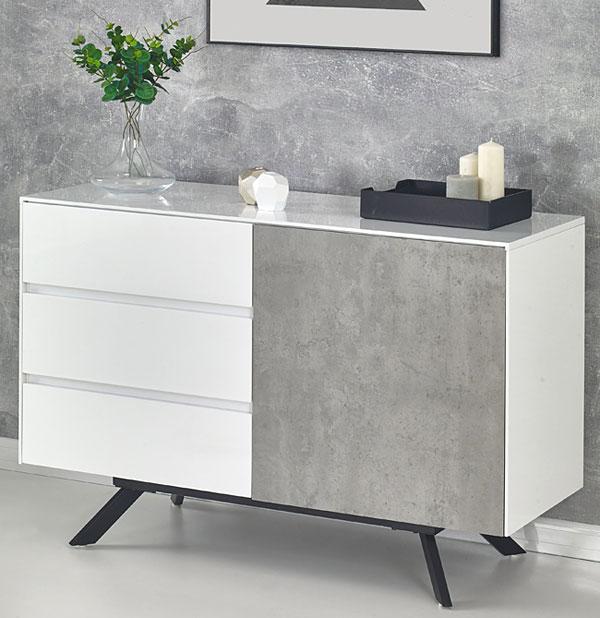 Nowoczesna komoda biały połysk, beton Tones 2X