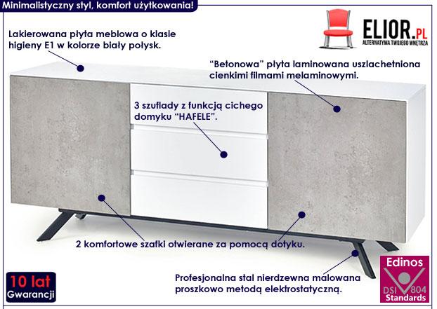 Nowoczesna komoda do loftu, beton, biała Tones 3X