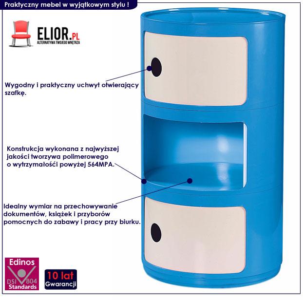 kontenerek do biurka dla dzieci - niebieski