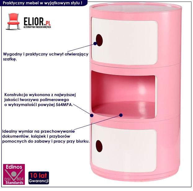 dziewczęcy kontenerek do biurka dla dzieci - różowy