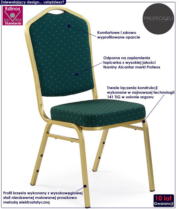 Eleganckie krzesło tapicerowane do stołu Abrax