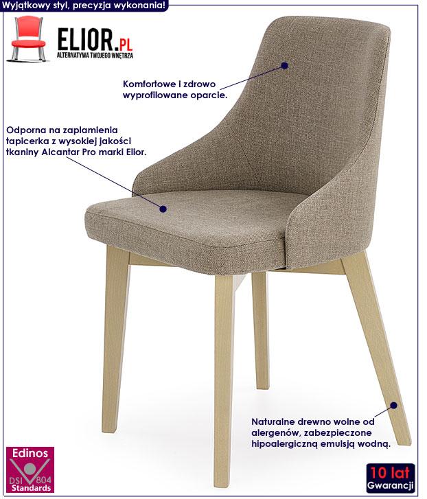 Drewniane, nowoczesne beżowe krzesło Altex