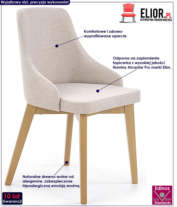 Beżowe krzesło drewniane do kuchni, salonu Altex