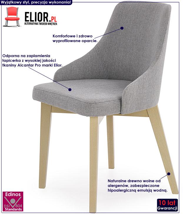 Szare krzesło drewniane w skandynawskim stylu Altex