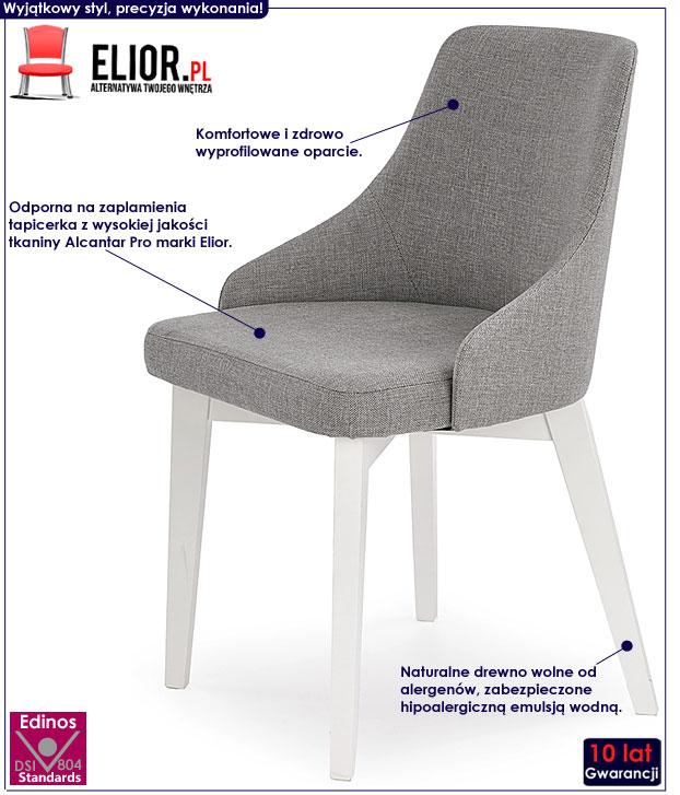 Szare krzesło drewniane do jadalni Altex