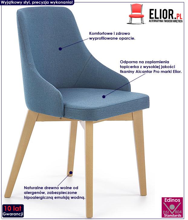 Turkusowe krzesło drewniane do salonu Altex