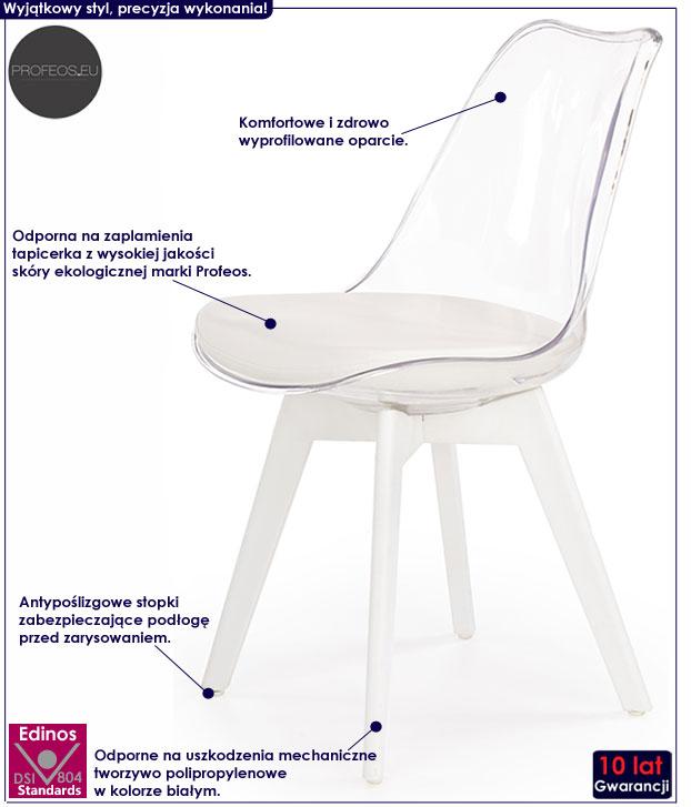 Bezbarwne krzesło przezroczyste do kuchni, salonu Alton