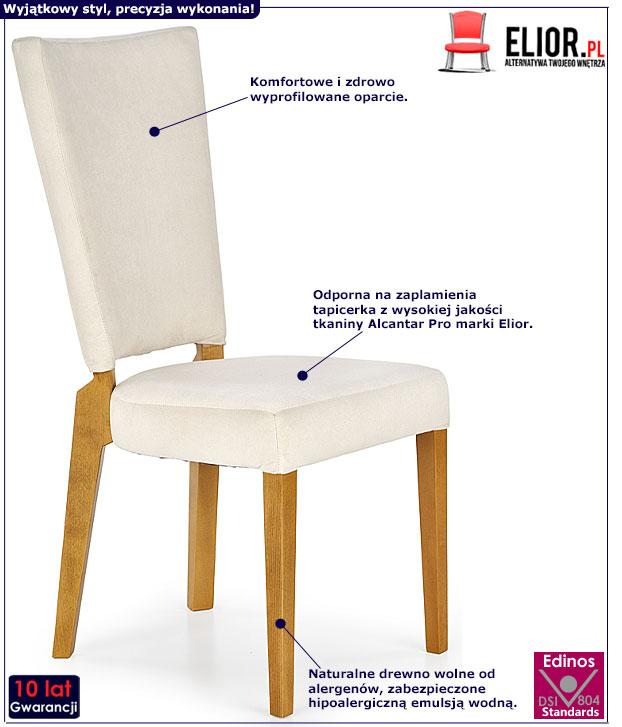 Kremowe krzesło drewniane do stołu Amols