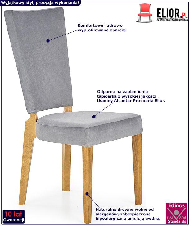 Popielate krzesło drewniane Amols