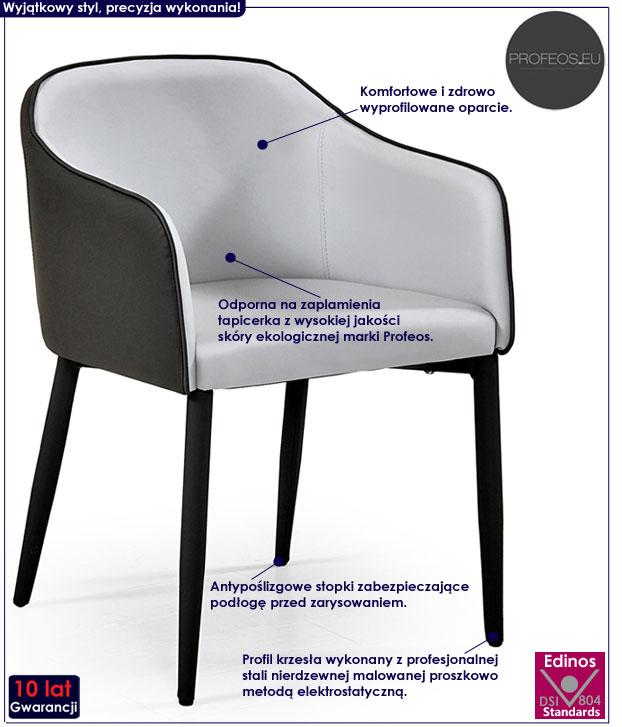 Szare nowoczesne krzesło do stołu, biurka Anter