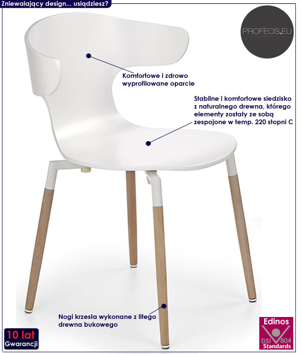 Białe krzesło w stylu skandynawskim, drewniane Anvar