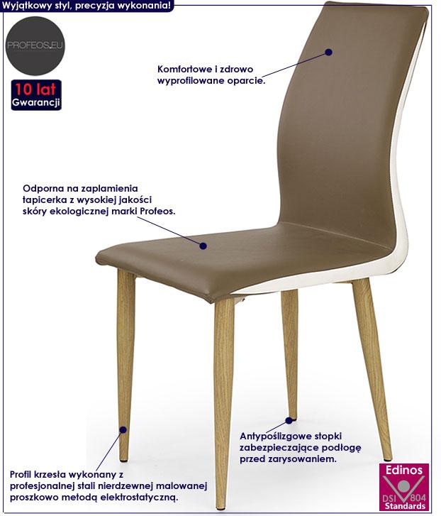 Tapicerowane brązowe krzesło do kuchni, salonu Ardon