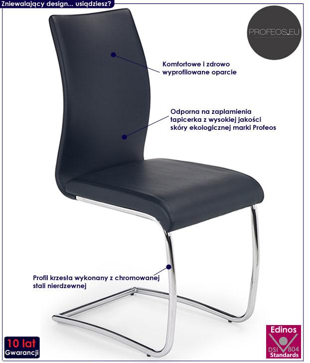 Czarne krzesło do stołu, salonu Avner