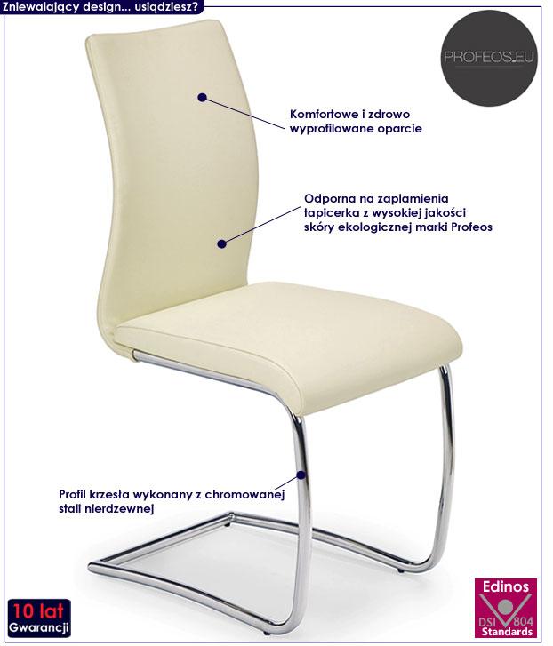 Kremowe krzesło kuchenne, metalowe Avner