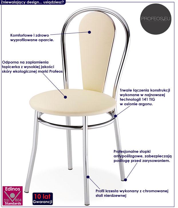 krzesło metalowe beżowe